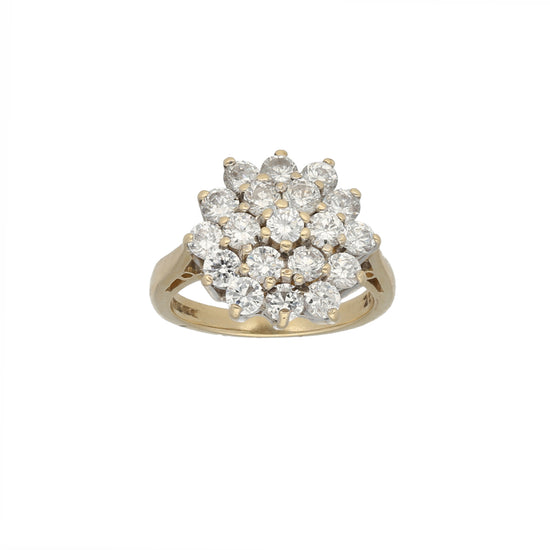 9ct Gold Cubic Zirconia Ladies Cluster Ring Size L
