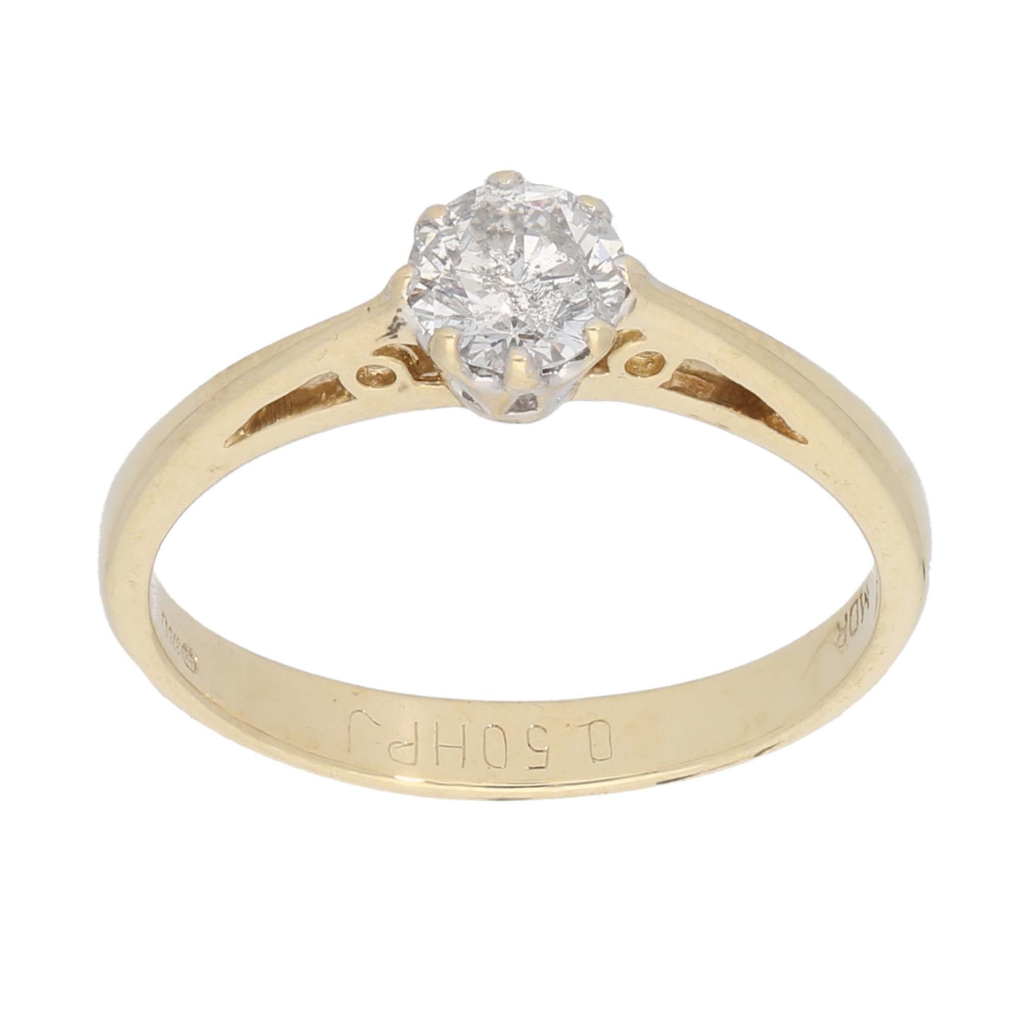 9ct Gold 0.50ct Round Cut Diamond Ladies Solitaire Ring Size O