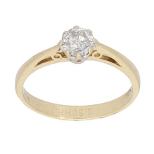 Load image into Gallery viewer, 9ct Gold 0.50ct Round Cut Diamond Ladies Solitaire Ring Size O