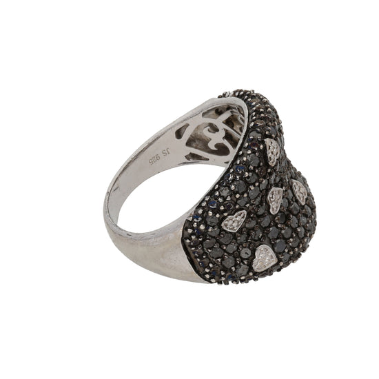 Silver Sterling Diamond Ladies Dress Cocktail Ring Size Q