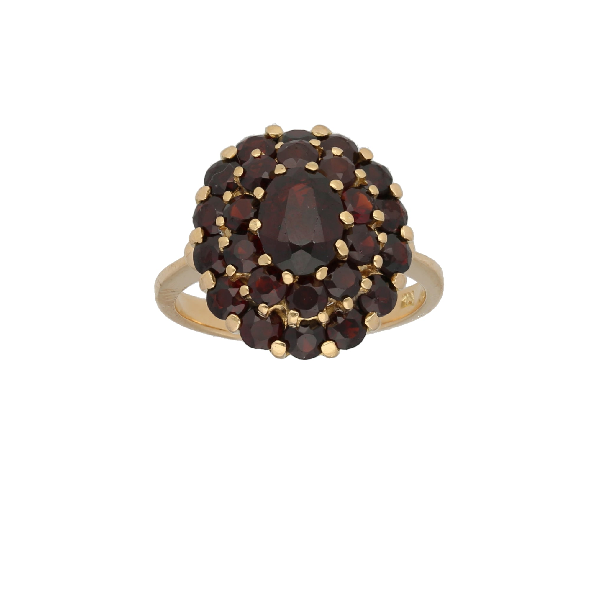 18ct Gold Garnet Ladies Cluster Ring Size O