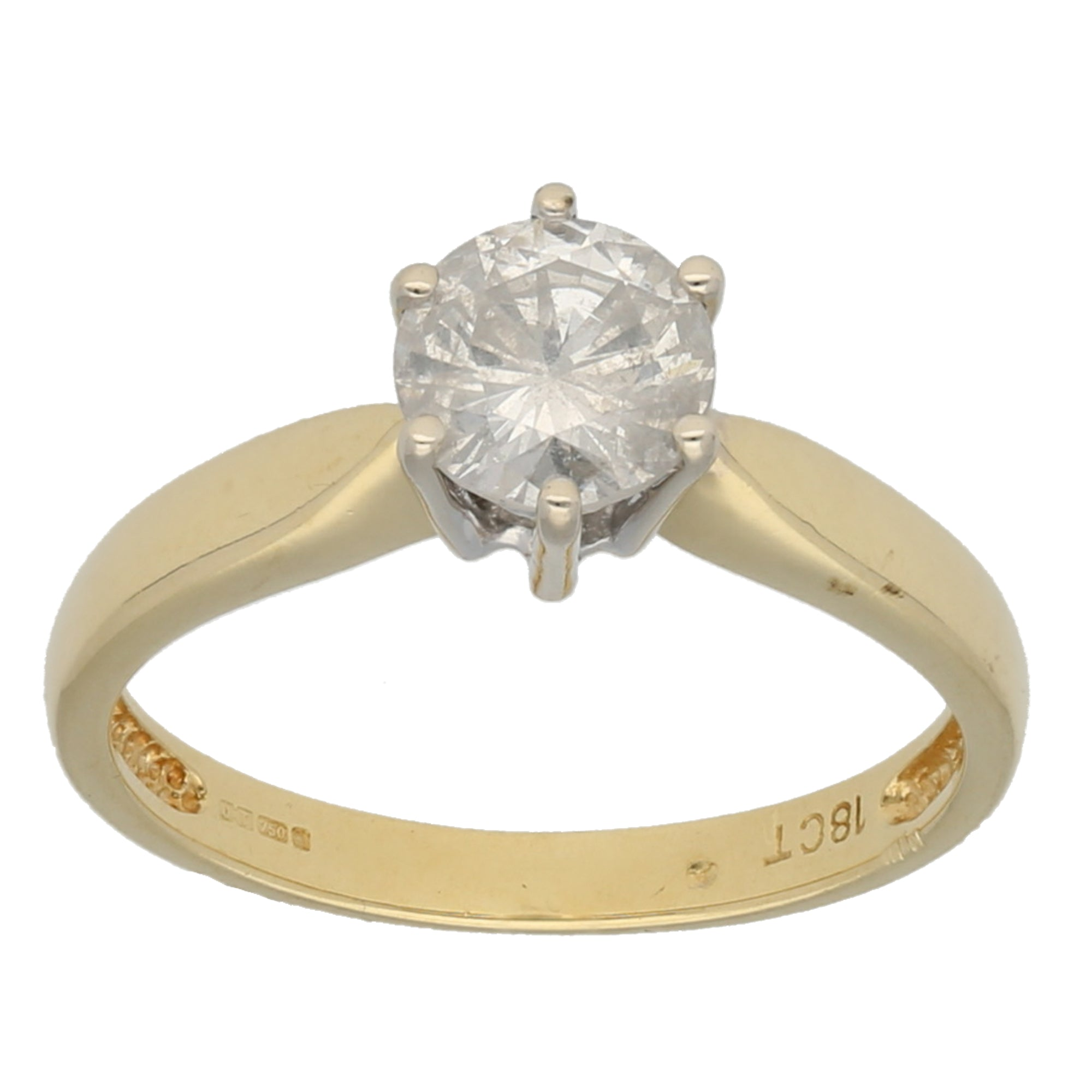 18ct Gold Diamond Ladies Solitaire Ring Size O