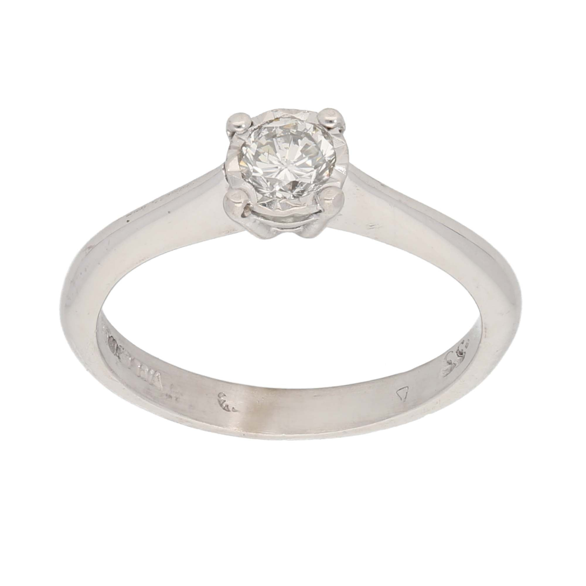 18ct White Gold 0.33ct Round Cut Diamond Ladies Solitaire Ring Size K