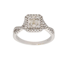 Load image into Gallery viewer, 9ct White Gold 0.03ct Baguette Cut Diamond & 0.02ct Baguette Cut Diamond & 0.01ct Round Cut Diamond Ladies Dress/Cocktail Ring Size Q