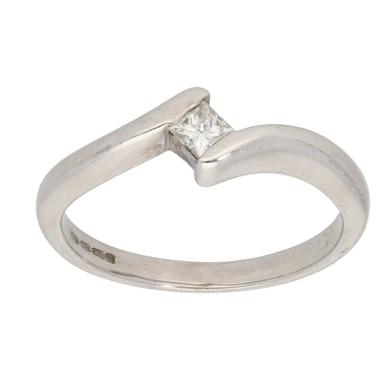 18ct White Gold 0.15ct Square Cut Diamond Ladies Solitaire Ring Size M