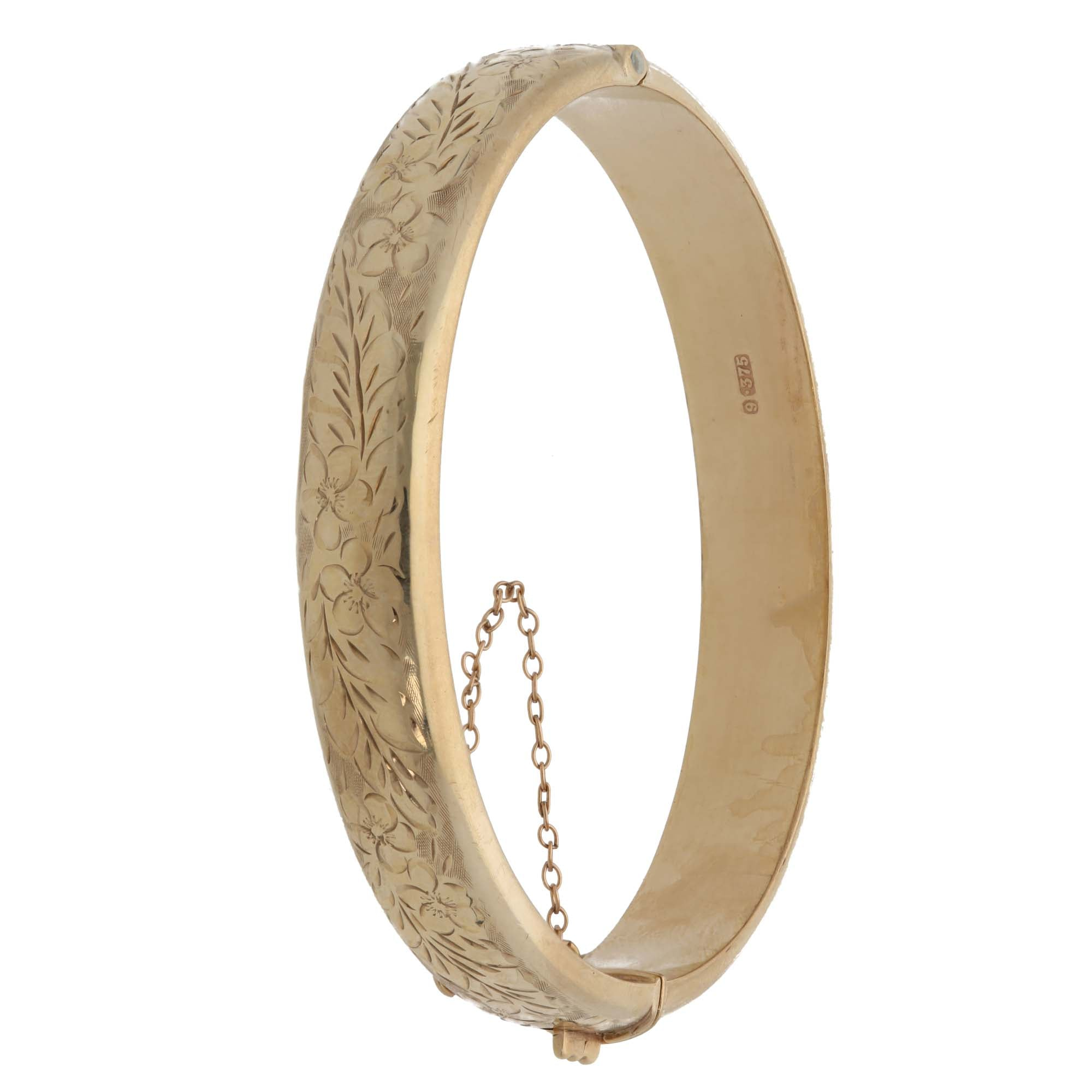 9ct Gold Ladies Hinged Clasp Bangle