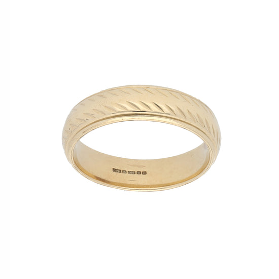 9ct Gold Mens Patterned Wedding Ring Size V