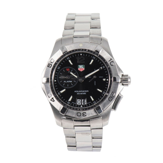 Tag Heuer Aquaracer Alarm WAF111Z Steel & Black 40mm Mens Watch