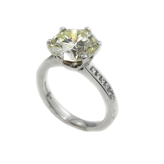18ct White Gold 4.41ct Diamond Solitaire Ladies Ring Size M
