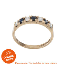 Load image into Gallery viewer, 9ct Yellow Gold Sapphire & Cubic Zirconia Ladies Half Eternity Ring Size O