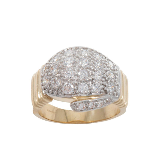 9ct Yellow Gold Cubic Zirconia Boxing Glove Mens Ring Size Z+1