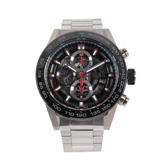 Tag Heuer Carrera Automatic Chronograph CAR2A1W-0 Black Skeleton Dial 45.5mm Mens Watch
