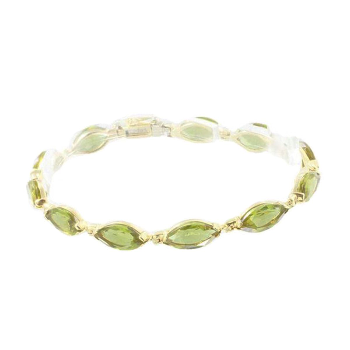 14ct Yellow Gold Ladies Fancy Stone Set Bracelet 18cm