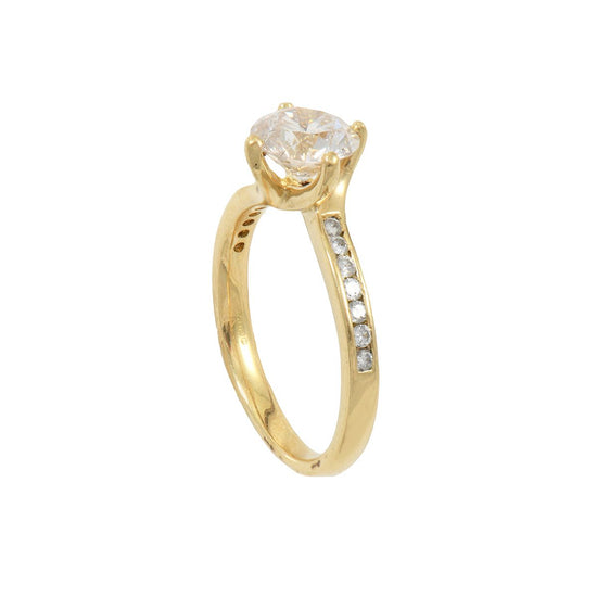 18ct Yellow Gold Ladies 1.11ct Diamond Accent Solitaire Ring Size K