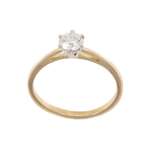18ct Yellow Gold 0.60ct Diamond Solitaire Ladies Ring Size O