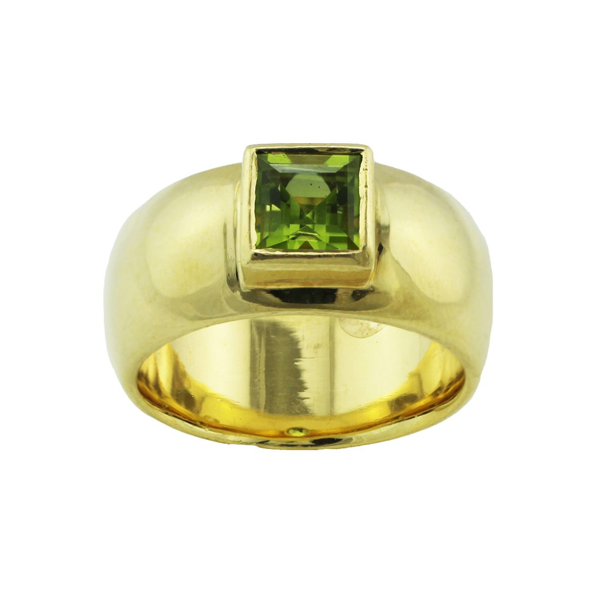 18ct Yellow Gold Peridot Solitaire Single Stone Dress/Cocktail Ring Size Q