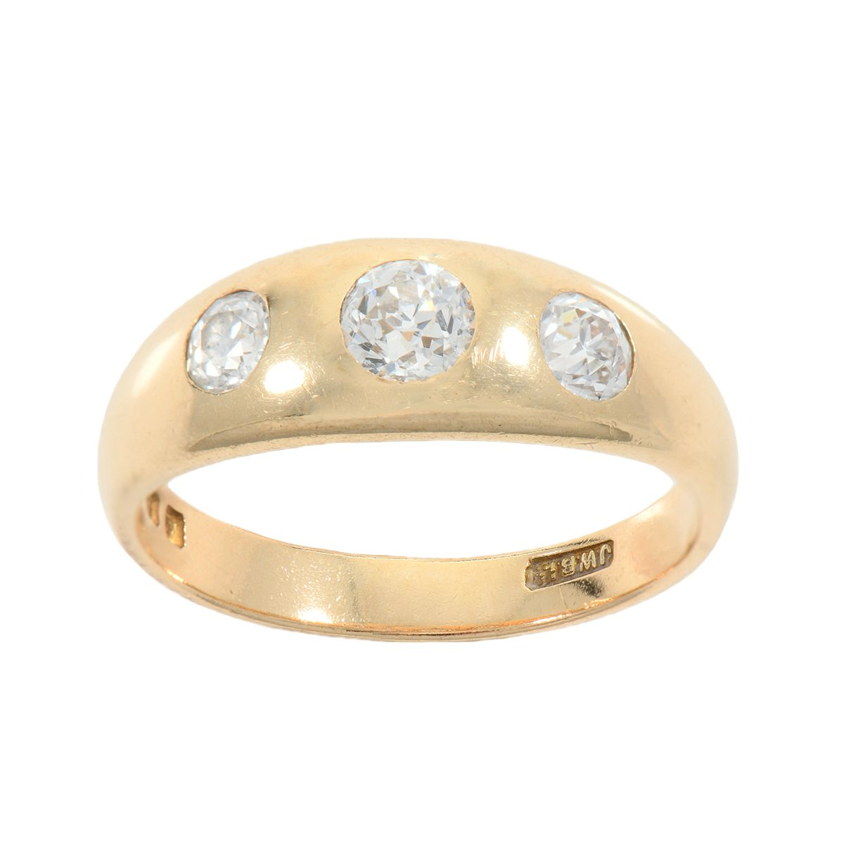 18ct Yellow Gold Old European Cut 0.80ct Diamond Trilogy Ring Size V