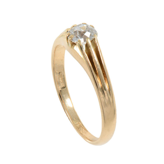 14ct Yellow Gold 0.55ct Mine Cut Diamond Solitaire Ring Size Q