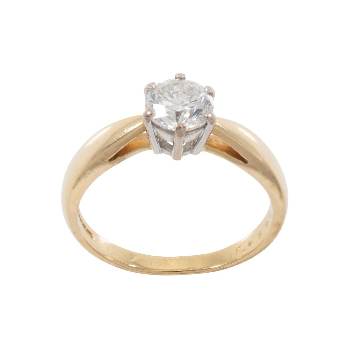18ct Gold Ladies 0.87ct Diamond Solitaire Ring Size P Q5FNCY