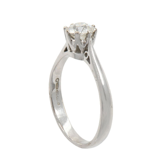 18ct White Gold Ladies Old Mine 0.84ct Diamond Solitaire Ring Size O