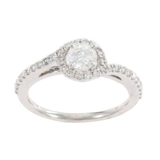 18ct White Gold 0.74ct Diamond Solitaire Ladies Ring Size M