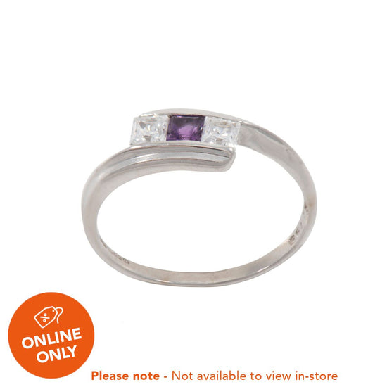 9ct Yellow Gold Amethyst & Cubic Zirconia Stone Set Trilogy Ring Size O
