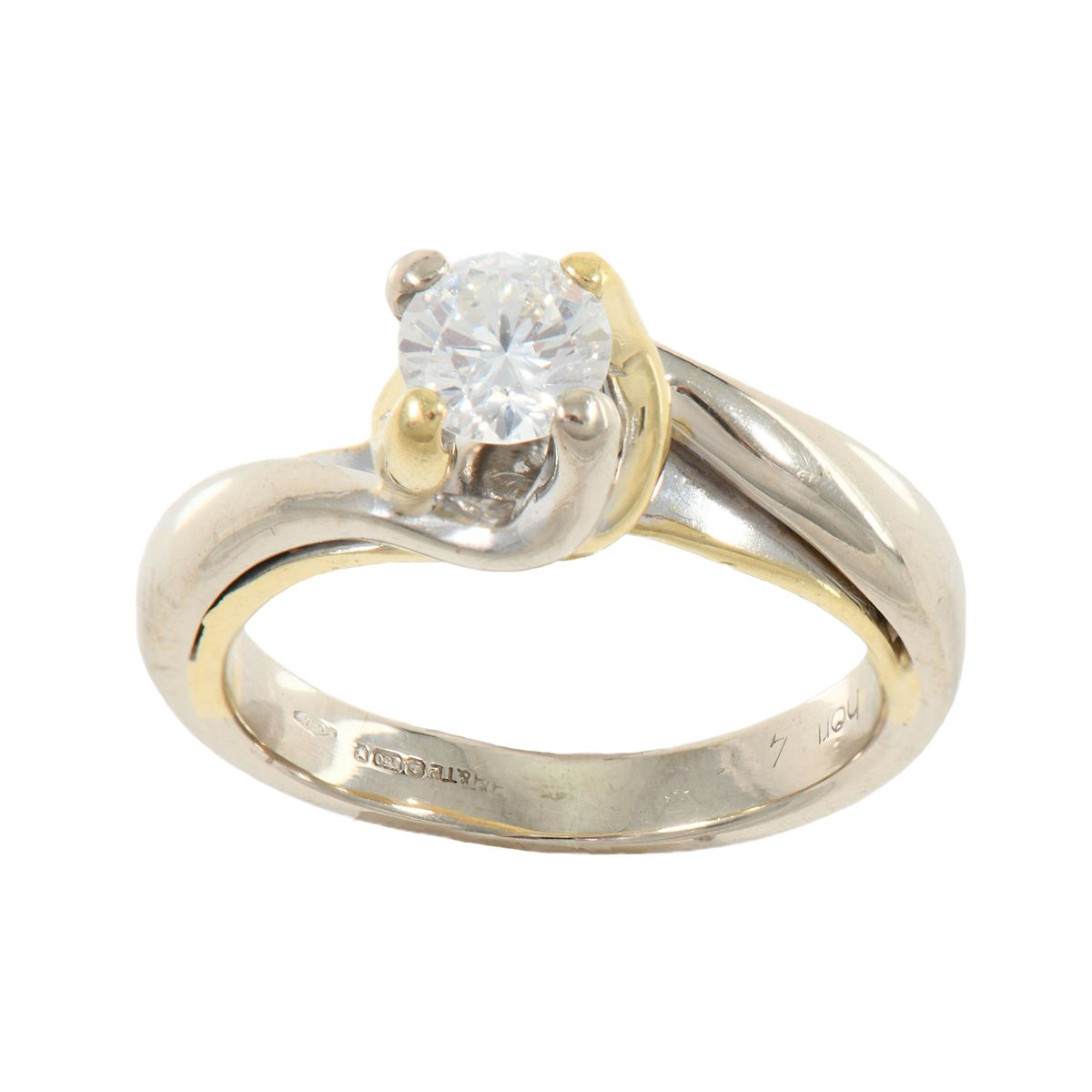 18ct Bicoloured Gold Ladies Round 0.50ct Diamond Solitaire Ring Size N