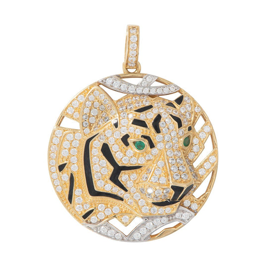 18ct Gold Man Made Cubic Zirconia & Emerald Tiger Design Pendant 2.5cm
