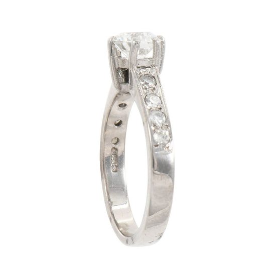 18ct White Gold 0.82ct Diamond Cluster Ladies Ring Size J