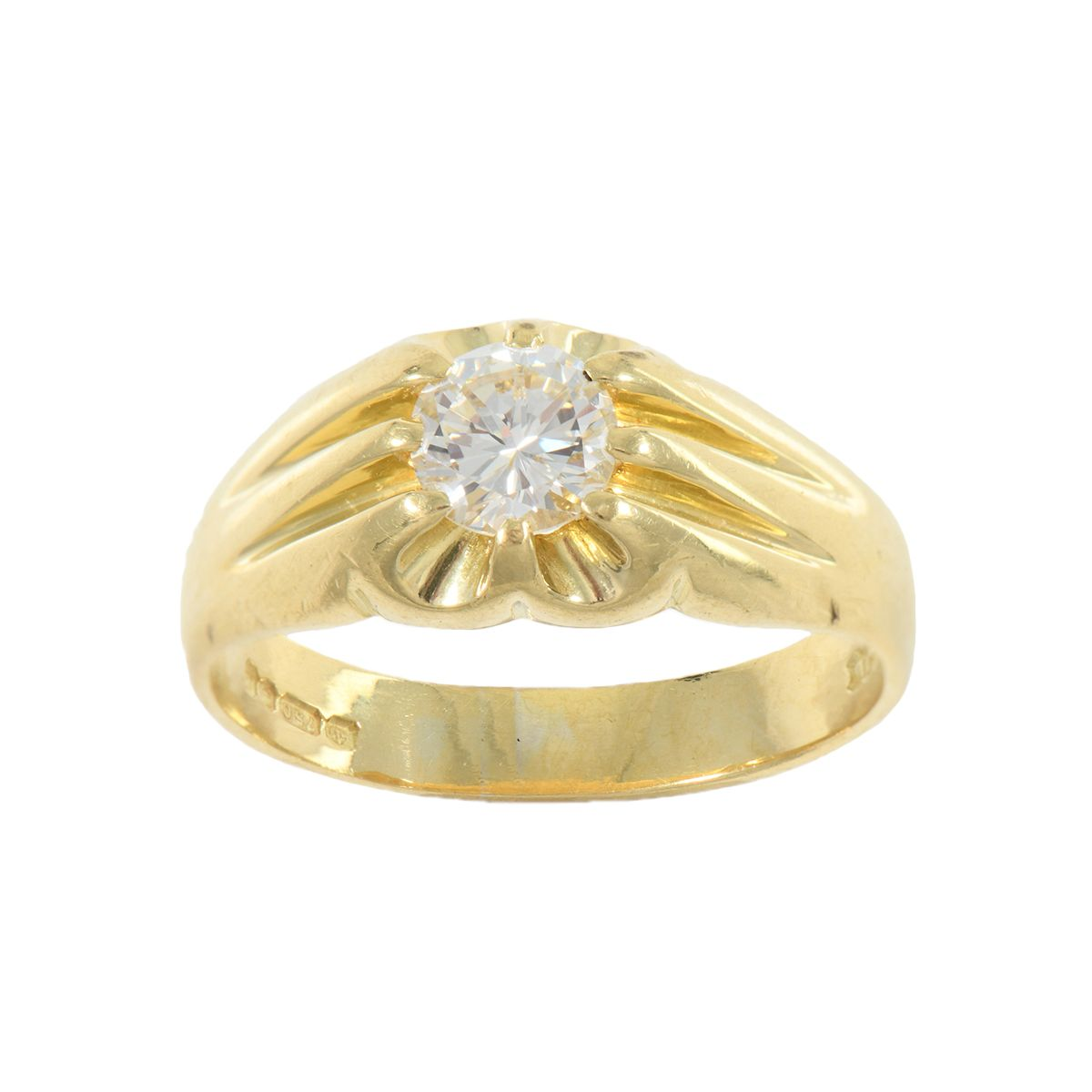 18ct Gold Ladies 0.63ct Solitaire Ring Size P 9TBVY