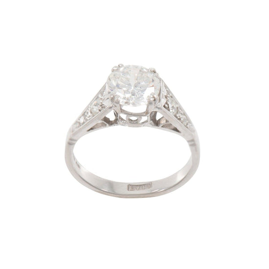 Platinum Diamond Accent Solitaire Ladies Ring Size M