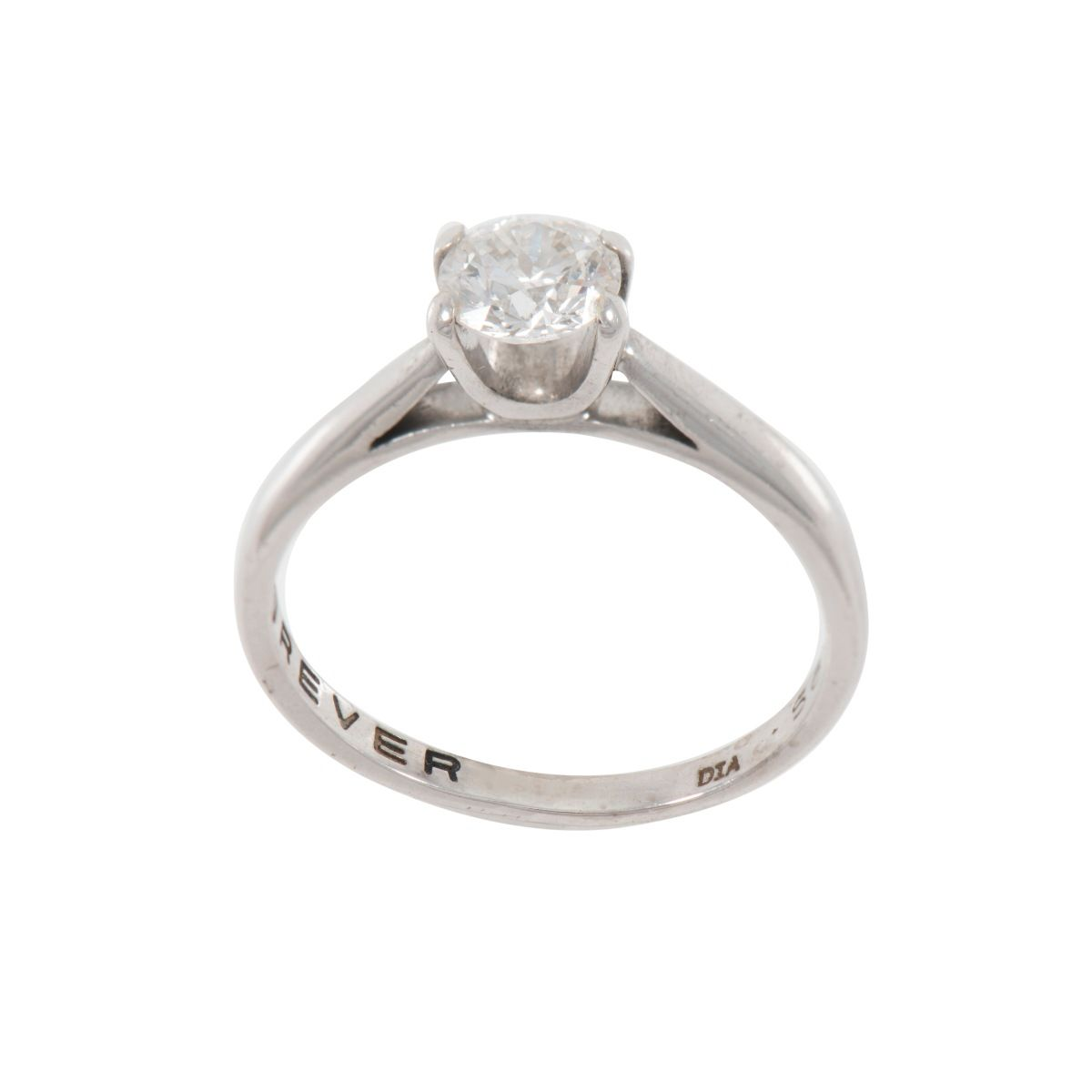 18ct White Gold Ladies Round 0.56ct Solitaire Ring Size K