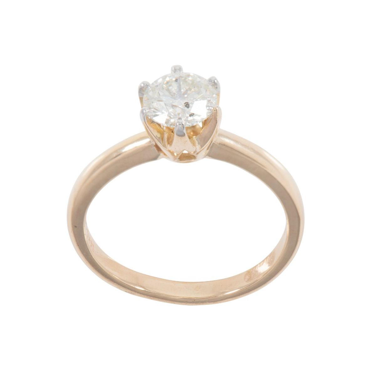9ct Yellow Gold Ladies Round 1ct Diamond Solitaire Ring Size O