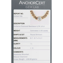 Load image into Gallery viewer, 18ct Yellow Gold 2.39ct Diamond Solitaire Pendant Chain 16 Inches