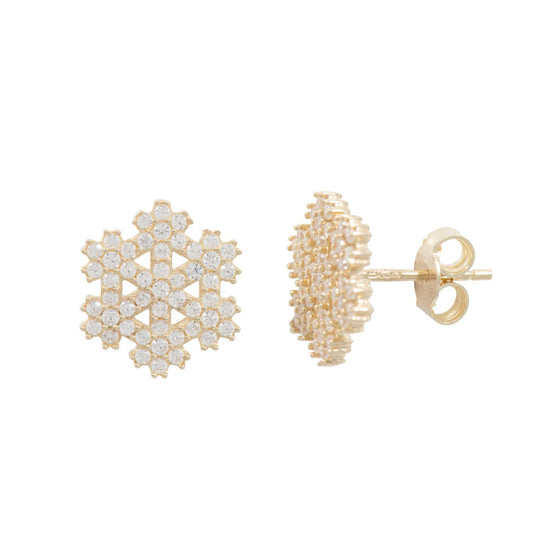 9ct Gold Cubic Zirconia Snowflake Stud Earrings