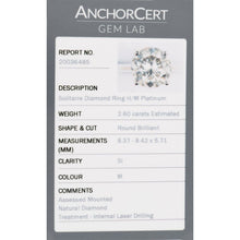 Load image into Gallery viewer, Platinum 2.60ct Diamond Solitaire Ring Ladies Size K