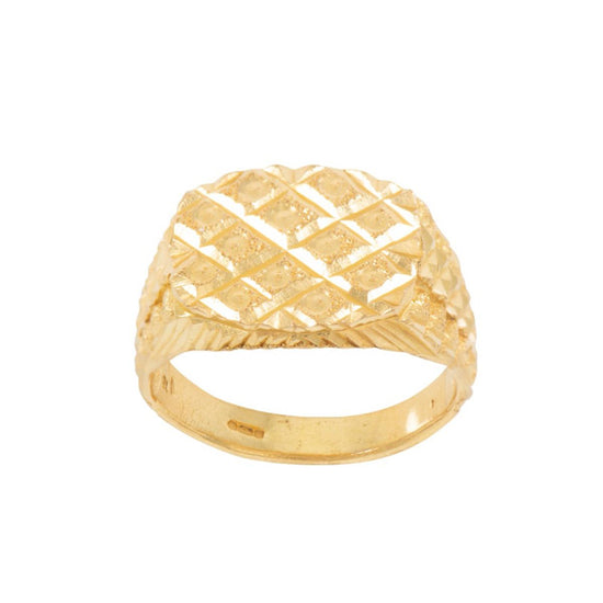 22ct Yellow Gold Patterned Mens Signet Ring Size S