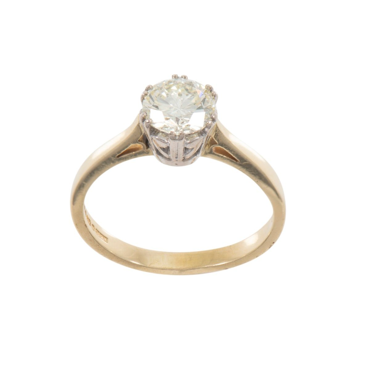 18ct Yellow Gold Ladies Round 0.90ct Diamond Solitaire Ring Size L