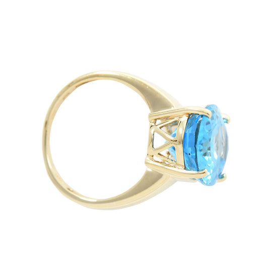 9ct Yellow Gold Blue Topaz Solitaire Ladies Ring Size N