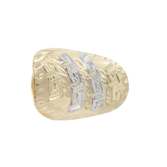 14ct Yellow & White Gold Decorative Dress/Cocktail Ladies Ring Size V