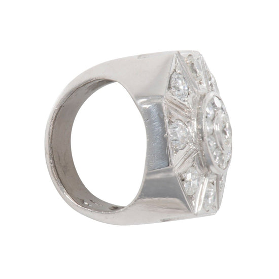 18ct White Gold 3.67ct Diamond Cluster Ring Mens Size X