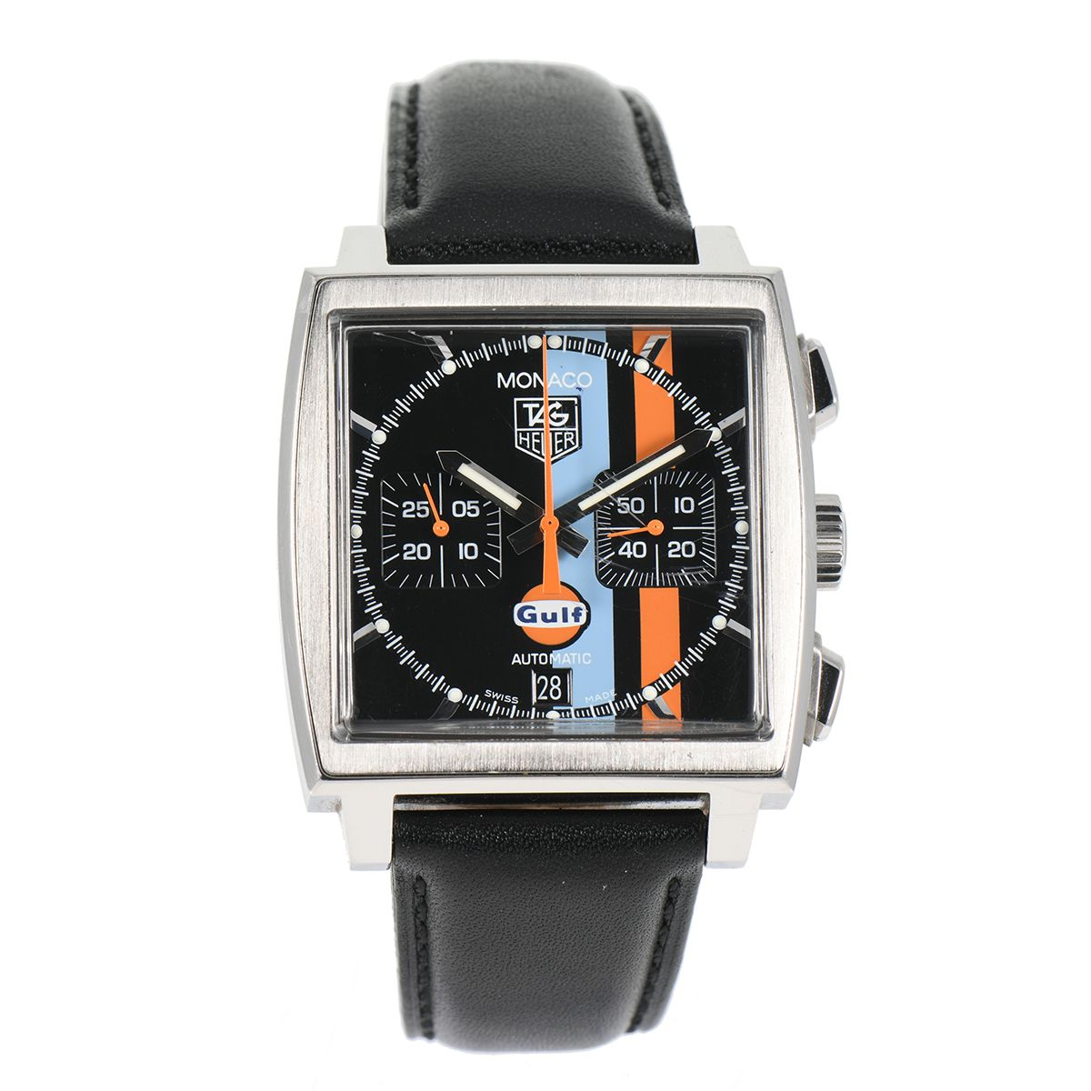 Tag Heuer Monaco Gulf CW211A Steel & Black 42mm Mens Watch