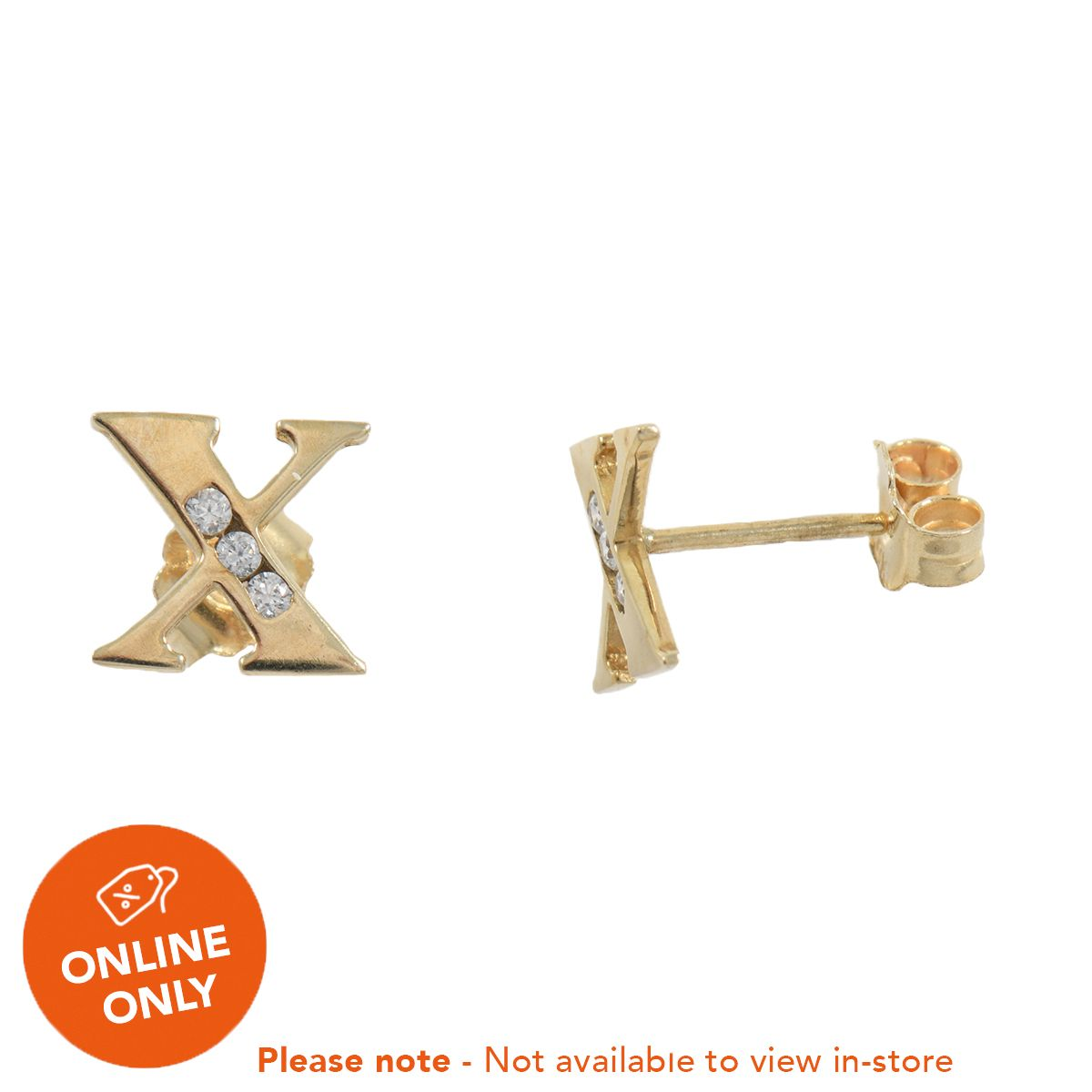 9ct Gold Stud Earrings - Letter X