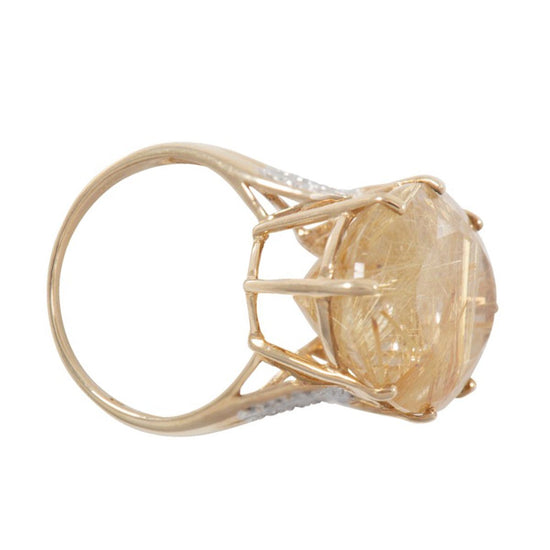 9ct Yellow Gold Ladies Quartz and Diamond Dress Ring Size O