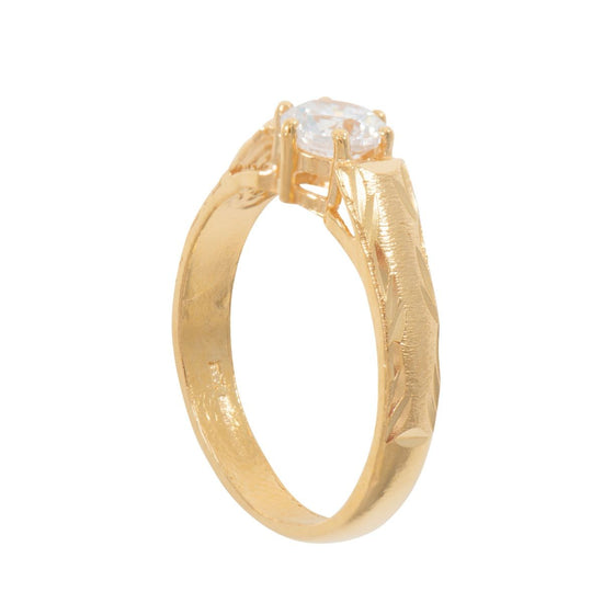 22ct Gold Cubic Zirconia Fashion Solitaire Ring Size R