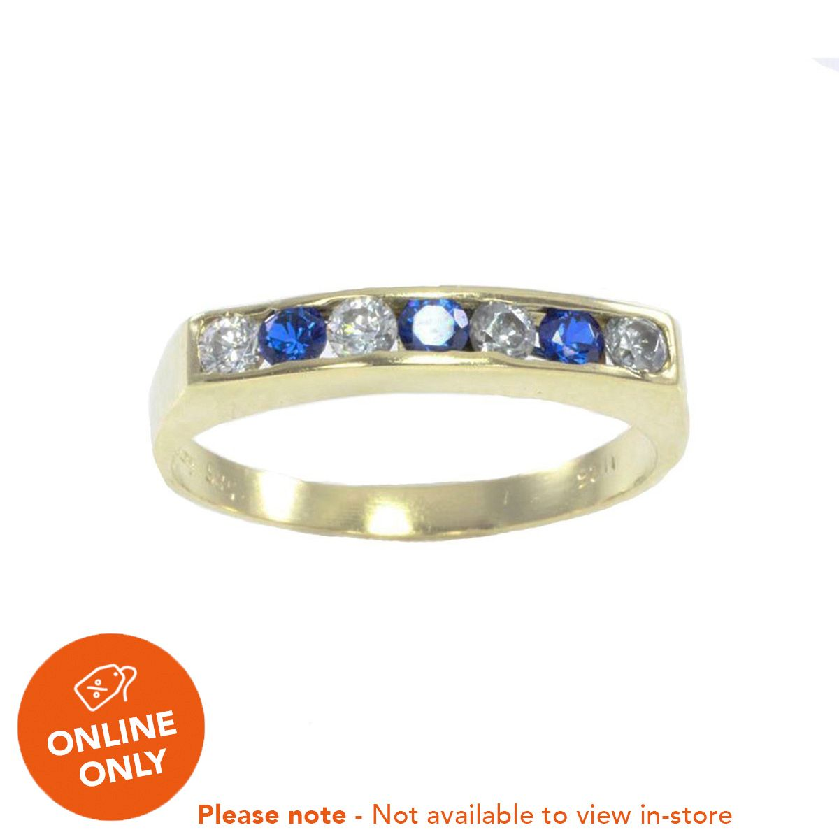 14ct Yellow Gold Blue Cubic Zirconia Half Eternity Ring Ladies Size O