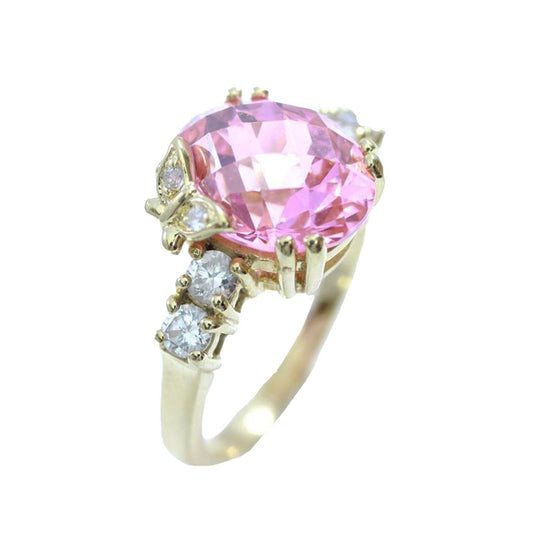 14ct Yellow Gold Pink & White Cubic Zirconia Stone Set Ladies Cluster Ring Size 0