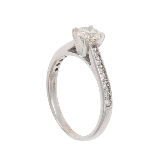 14ct White Gold Ladies Round 0.78ct Diamond Accent Solitaire Ring Size O