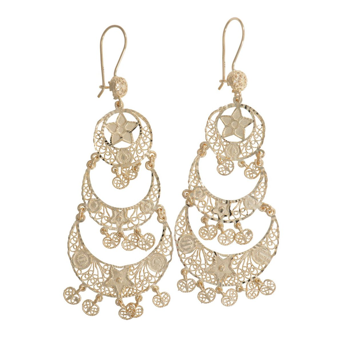 14ct Gold Decorative Dress Cocktail Earrings 85mm