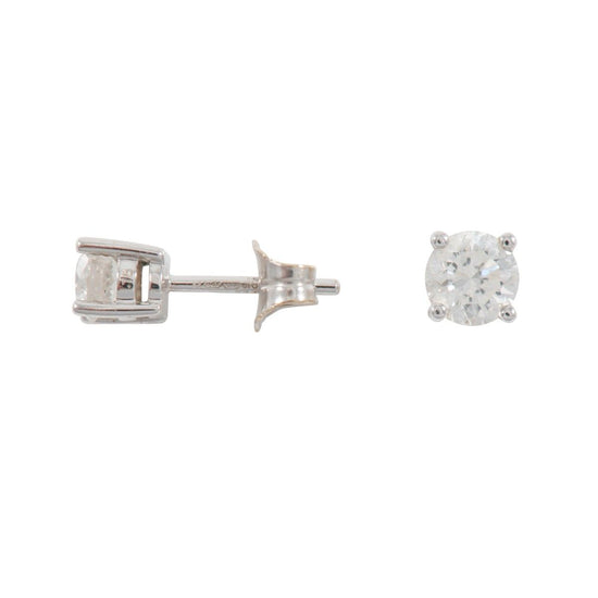 18ct White Gold Ladies Round Cut 0.70ct Diamond Stud Earrings